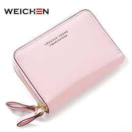 double zipper card holder 2019 - WEICHEN Double Zipper Women Wallets Synthetic Leather Small Purses & Wallets Female Card Holder Coin Pocket Ladies Short