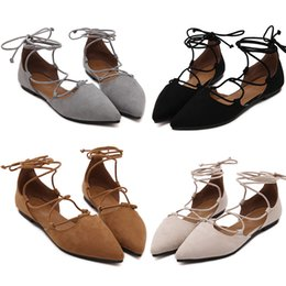 summer sandals new design 2019 - 2018 spring and summer new flat bottom women's shoes brand design sandals black cross straps pointed shoes suede fa