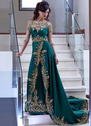 emerald green lace beaded dress UK - Arabic Evening Dresses sheer crew Morocco Kaftan Scoop gold Appliques Lace Beaded Three Quarter Sleeves Satin Emerald Green Prom Dress