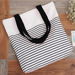 striped beach bags wholesale 2020 - New Summer Women Canvas Bohemian Style Striped Shoulder Beach Bag Female Casual Tote Shopping Big Bag Messenger Bags che
