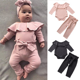 Wholesale ruffle for sale – plus size Baby Girls Clothing Set Ruffled Rompers Long Sleeve Clothes Girls Elastic Waist Pants Candy Color Suit T