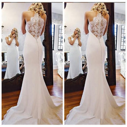 China Halter Simple Lace Appliques Slim Mermaid 2019 Wedding Dresses Sleeveless Customized Robe De Mariee Largo Bridal Gowns Ladies Beach Hohemian cheap sexy slim beach wedding dress suppliers