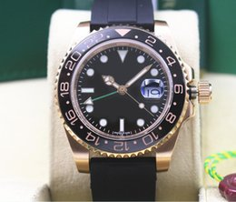 Pink ceramic watch online shopping - Factory Supplier Wristwatches K Pink Gold GMT Rubber Bracelet Ceramic black Dial MM Automatic Mens Watch Watches