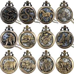 chinese watch alloy Australia - Antique Vintage 3D Twelve Chinese Zodiac Animal Watch Mens Womens Quartz Pocket Watches Analog Display Clock Neckalce Sweater Chain Gift