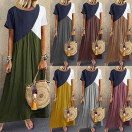 $enCountryForm.capitalKeyWord Australia - New Summer Womens Ladies Boho Short Sleeve Patchwork Baggy Casual Beach Maxi Long Dress Plus Size S-5XL