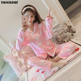 $enCountryForm.capitalKeyWord Australia - Cotton Cardigan Pajama Sets for Women Autumn Long Sleeve Pyjama Girl Cute Cartoon Print Sleepwear Homewear Clothing Pijama Mujer
