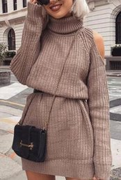 0610a343e5 Autumn Winter Turtleneck Off Shoulder Sweater Dress Women Plus Solid Knitted  Pullovers ugly christmas fiesta elegant 66827P