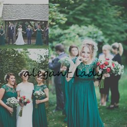Full length party dresses online shopping - Hunter Green Bohemian Bridesmaid Dresses Lace Chiffon Cap Sleeve Full length Country Junior Wedding Party Guest Maid of Honor Gown