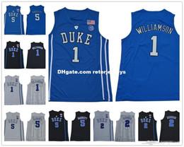 ae7c831e6 NCAA Duke Blue Devils #1 Zion Williamson 35 Bagley III #5 RJ Barrett 2  Reddish Royal Black 2018 White College Basketball Jerseys S-2XL