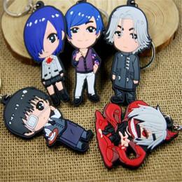 Kaneki Figure Australia - Anime Keychains Tokyo Ghoul 4.5 to 8.5cm Cartoon Cute Keyring Kaneki Ken Touka Kirishima Shuu Tsukiyama PVC Figure Keychains