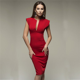 TighT dresses designs online shopping - Sexy Tight Pencil Dress with Solid Color Fashion Pack Hip Dress for Women Lady Personality Design Slit Dress with Deep V