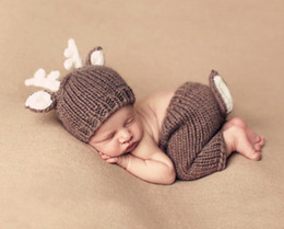 baby photo props hats Australia - Baby Outfits Deer Newborn Photography Accessories Handmade Crochet Baby Beanie Hats And Pants For Photo Props Baby Photography