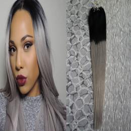 $enCountryForm.capitalKeyWord NZ - micro loop ombre silver gray 100G Micro Loop Ring Hair Highlight Color Remy ombre Pre Bonded Hair Extension