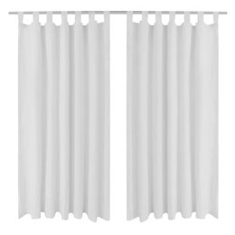 curtains styles designs UK - 2 pcs Curtain Passing Micro Satin White 140 x 225 cm Wall Stickers