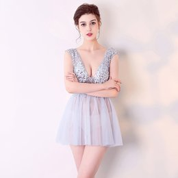 $enCountryForm.capitalKeyWord Australia - 2019 New Sexy perspective loading model annual meeting night dresses Open back hand-stitched diamonds short tutu skirt