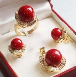 $enCountryForm.capitalKeyWord Australia - Prett Lovely Women Wedding shipping>>Set 10mm &14mm red South sea Shell Pearl Earrings Necklace Ring silver-jewelry