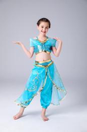 Vente en gros pantalon fille danse latine vêtements ventre Dancewear jupe princesse enfants COS costume enfants européens et américains de Noël costume deux pièces