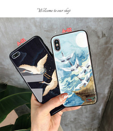 flying iphone Canada - XS mobile phone shell China wind flying crane painted glass anti-fall all-inclusive iphXS MAX mobile phone shell for