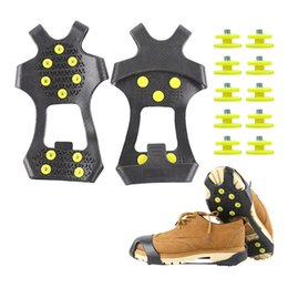 snow shoe grips Australia - 10 Studs Anti-Skid Snow Ice Climbing Shoe Spikes Grips Crampons Cleats Overshoes Crampons Spike Shoes Crampons