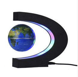 Lovers Lamp online shopping - C shaped Globe Led Night Light Table Atmosphere Night Lamp Magnetic Suspension Globe Gift Ornaments Home Desk Decoration