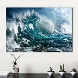 decorative painting frames NZ - 1 Piece Home DecorLiving Room Sea Wave Spray Modern Canvas Print Picture Painting Wall Art No Frame Decorative Pictures