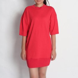red cap clothes Australia - Womens Half Sleeve Knee-length Dress New Fashion Letter Printing Casual Mini Dresses Solid Red Women Clothes