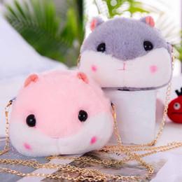 $enCountryForm.capitalKeyWord Australia - Plush Backpacks Hamster Doll Bags Kids Plush Toys Purse Squirrel Hamster Shoulder Bag Cute Pink Gray Plush Animals Bag