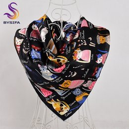autumn head scarf 2019 - wholesale Black Pure Silk Scarf Shawl Women Spring Autumn Brand Cute Cartoon Cat Large Square Scarves Head Scarf Winter