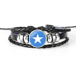 Wholesale World cup football flags online shopping - Somalia National Flag World Cup Football Fan Time Gem Glass Cabochon Bracelet Cowhide Leather Rope Beaded Cuff Bangles For Women Men Jewelry