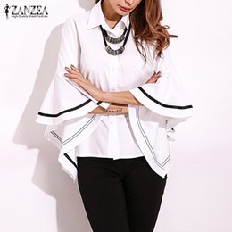 3958bf65495 Women's Blouse ZANZEA 2019 Summer Casual Blusas Female Flouncing Sleeve  Shirts Button Down Stripe Chemise Oversized Ruffle Tops