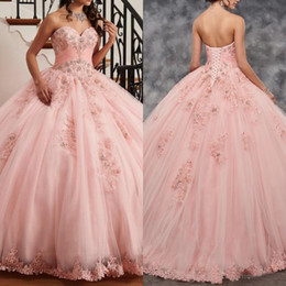 16 year girl sexy pictures NZ - Lovely Pink Quinceanera Dress Ball Gown Sweetheart Lace with Beadings 2020 Party Dresses for Girls 15 Years
