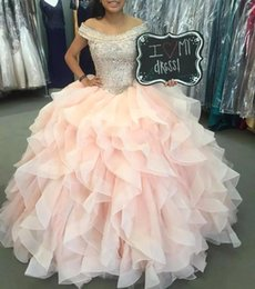 Silver quinceanera dreSSeS online shopping - off Shoulder Quinceanera Prom Dresses Beaded Crystal Ball Gown Sweet Dresses Ruffles Tulle Lace Up of Back Evening Gowns