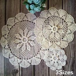 $enCountryForm.capitalKeyWord Australia - 3Sizes Luxury Cotton Crochet Flowers Coasters Set Mantel Individual Mat Wedding Christmas Table Decor Pad Placemat Home Kitchen