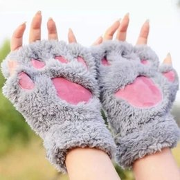 Female Cat Woman Costume Australia - Hot Lovely Women Cat Claw Paw Mitten Plush Glove Costume Cute Winter Warm Half Finger Gloves Women Female Gloves Mitten