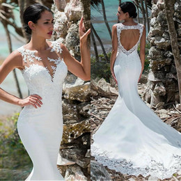 Wholesale 2019 Beach Mermaid Wedding Dresses Backless Satin Lace Appliqued Summer Bridal Gowns with Sequins Boho vestido de novia