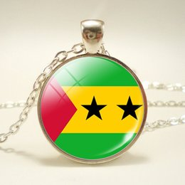 $enCountryForm.capitalKeyWord Australia - Fashion Simple Time Gem Glass Cabochon Sao Tome and Principe National Flag World Cup Football Fan Pendant Chain Long Necklace Jewelry Unisex