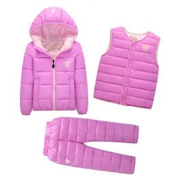 Zipper Down Vest Australia - Clothing Sets Winter Snow Wear Boys Girls Clothing Sets Fashion Kids Clothes 3Pcs Down Jacket + Vest+Trousers Boys