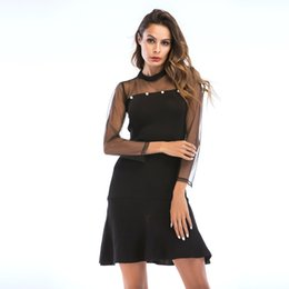 Wholesale Black Sexy Hollow Out Mesh Patchwork Dress Thin Long Sleeve Fishtail Skirt Women s Dresses Size M XL