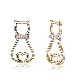 $enCountryForm.capitalKeyWord UK - Unique 925 Sterling Silver Earrings Woman Cat Shape Stud Earrings Ladies Classical Stick Pin Party Gift Premiums Jewelry Earrings 2019