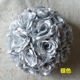 "beige color flower bouquets Australia - New 8""20 cm Handmade Silver Rose Flowers ball Kissing Flower Hanging Ball DIY Bouquet Home Wedding Party Decor 6 Color Available"