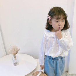 girls white lace blouses Canada - Spring Autumn Baby Toddler Girls Lace Blouse White Children Clothes School Girl Cotton Shirt Long Sleeve Kids Blouses And Tops