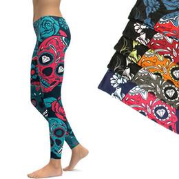 Leggings Woman S Skull Australia - LI-FI Sports Leggings Yoga Pants Blue Sugar Skull Women Fitness Rapper Leggings Tight Pants Gym Training Sports Running Legging #20117