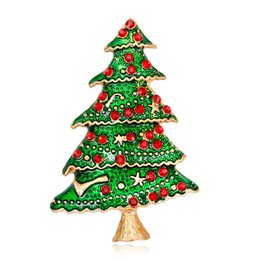 Personality brooches online shopping - European and American fashion Christmas jewelry fashion hundred personality creative alloy set diamond drop oil Christmas tree brooch
