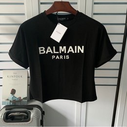 Wholesale Balmain Womens Cotton loose letters exposed navel short paragraph T Shirt High Quality Womens Summer Short Sleeve Fashion Womens Tees Size S