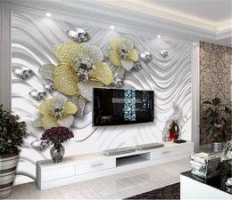 $enCountryForm.capitalKeyWord Australia - Wholesale 3d Wallpaper Metal Texture Jewelry Flower Living Room TV Background Wall Decoration Moisture Wall paper