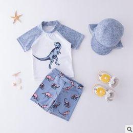 $enCountryForm.capitalKeyWord Australia - 2019 Baby Boys Summer Sports Swimsuit Cartoon Dinosaur Kids Children Active Swimwear Bathing Suit 5sets lot