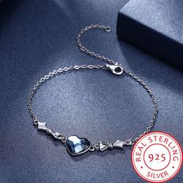 $enCountryForm.capitalKeyWord Australia - Women's Blue Crystal Heart Shape 100% 925 Sterling Silver Bow Bracelet Length Adjustable 20.5+4.5cm Gross Weight 2.8g