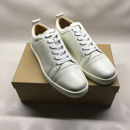 Dress up box online shopping - High quality Designer shoes for man women red bottoms Junior Spikes Flat sneakers Genuine leather fashion paris dress shoes with box