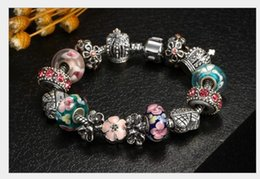 sterling silver european stoppers UK - Fashion 925 Sterling Silver Cherry Blossom Murano Lampwork Glass & Crystal Crown European Charm Stopper Beads Fits Pandora Charm Bracelets