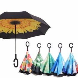 Shaped Handle Australia - Reverse Umbrellas For Double Layer Umbrella Cloth Inverted Umbrellas Shape Handle Windproof Umbrella Long Handle Rain Gear Y19062103